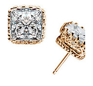 cheap -Men's Women's Stud Earrings Crystal Fashion Zircon Cubic Zirconia Alloy Square Crown Geometric Jewelry Daily Casual Costume Jewelry