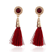 cheap -New Arrival Vintage Fashion Red Tassel Earrings Gold Plated Pearl Flower Dangle Earrings Women Party Jewelry