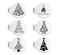 6pcs/lots Christmas Trees Decorating Coffee Stencil Plastic Cookie Stencil ST-925