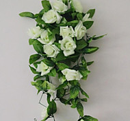 cheap -1 Branch Polyester Plastic Roses Wall Flower Artificial Flowers