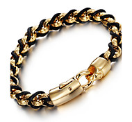 cheap -Men's Chain Bracelet Fashion Stainless Steel Leather 18K Gold Geometric Jewelry Party Anniversary Birthday Daily Casual Costume Jewelry