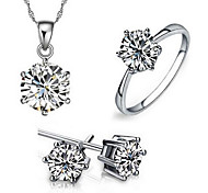 cheap -Women's Cubic Zirconia Jewelry Set - Sterling Silver, Zircon, Cubic Zirconia Heart, Love European, Fashion Include Bridal Jewelry Sets White For Party / Daily / Casual / Gold Plated / Rings