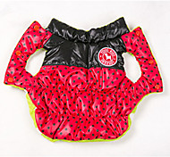 Dog Coat Vest Dog Clothes Winter Spring/Fall Polka Dots Keep Warm Reversible Black Yellow Rose Red Blue