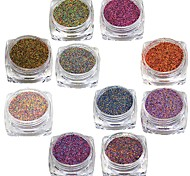 cheap -10 Designs One Set Shining Sugar Glitter Dust Powder Nail Art Decoration Acrylic Nail Glitter Powder #533-542