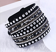 cheap -Men's Women's Wrap Bracelet Tennis Bracelet Multi Layer Double-layer Punk Rhinestone Nylon Cross Rectangle Jewelry Christmas Gifts