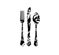 Wall Stickers Wall Decals Style Creative Knife And Fork Tool PVC Wall Stickers