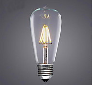 cheap -1pc 300-350 lm E26/E27 LED Filament Bulbs ST64 4 leds COB Decorative Warm White Cold White AC 220-240V