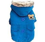 Chat Chien Manteaux Pulls à capuche Vêtements pour Chien Hiver Printemps/Automne Couleur Pleine Garder au chaud Coupe-vent Rouge Bleu