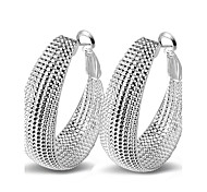 cheap -Women's Sterling Silver Hoop Earrings - Sexy / Statement / Fashion Silver Circle Earrings For Wedding / Party / Daily