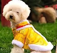 Недорогие -Кошка Собака Плащи Толстовка Одежда для собак Мода Новый год Вышивка Желтый Красный Костюм Для домашних животных