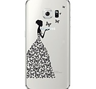 Недорогие -Для Samsung Galaxy S7 Edge Прозрачный / С узором Кейс для Задняя крышка Кейс для Соблазнительная девушка Мягкий TPU SamsungS7 edge / S7 /