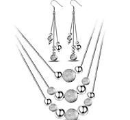 cheap -Women's Sterling Silver Jewelry Set Include Earrings Necklaces - Basic Fashion Simple Style Sterling Silver Ball Jewelry Set Drop