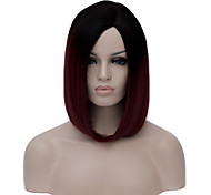 Women Short Wig Black to Dark Red Bob Haircut Straight Wig For Party