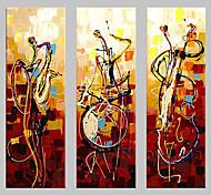 Недорогие -Hang-роспись маслом Ручная роспись - Абстракция Классика Традиционный 3 панели