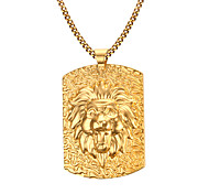 Men's Fashion Generous  Lion  Rectangle Stainless Steel Gold Plated Pendant Necklaces(1pc) Christmas Gifts