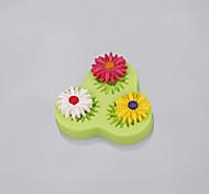 Venda Por Atacado 3cavity flor gerbera forma moldes de fondant de silicone para o bolo decoração cor aleatória