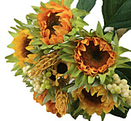 cheap -5 Branch Silk Plastic Sunflowers Tabletop Flower Artificial Flowers