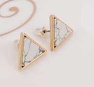 cheap -New Arrival Trendy Gold Fashion Triangle Geometric Marbled White Faux Stone Stud Earrings For Women