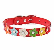 Dog Collar Adjustable / Retractable Running Hands free Casual Cosplay Flower PU Leather Black Rose Red Blue Pink