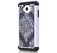 Для samsung galaxy j7 j5 черная цветочная модель дрель тпу шт комбо материал корпус мобильного телефона корпус