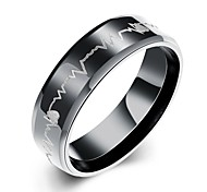 cheap -Men's Ring Black Stainless Steel Love Fashion European Christmas Gifts Party Daily Casual Costume Jewelry