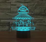 парк развлечений с сенсорным затемнением 3D LED свет ночи 7colorful украшения атмосфера новизны светильника освещения свет рождества