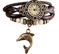 cheap -Women's Quartz Wrist Watch Bracelet Watch Rhinestone Imitation Diamond Punk PU Band Vintage Casual Bohemian Fashion Black White Blue Red