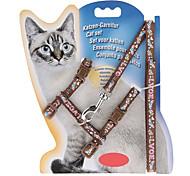 Cat Harness Leash Adjustable / Retractable Cartoon Nylon Purple Brown Red Blue Pink