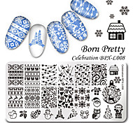 Born Pretty 126cm Rectangle Nail Art Stamp Template Christmas Image Plate Celebration BPX-L008