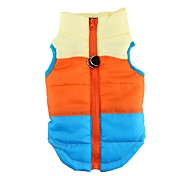 Cat Dog Coat Vest Dog Clothes Casual/Daily Keep Warm Color Block Rose Green Blue Pink Light Blue Costume For Pets