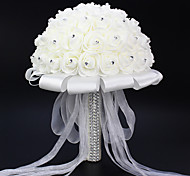 cheap -1 Branch Polyester Roses Tabletop Flower Artificial Flowers