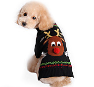 Cat Dog Sweater Dog Clothes Cotton Winter Spring/Fall Cute Holiday Christmas Reindeer Black Costume For Pets