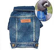 cheap -Dog Denim Jacket/Jeans Jacket Dog Clothes Cute Cowboy Fashion Jeans Blue Costume For Pets