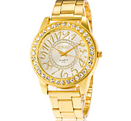 Fashion Women's Wrist Watch Casual Men Watch of Quartz Gold Stainless Steel Band Watches with Rhinestone Watchcase