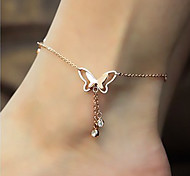 cheap -Rose Gold 18K Gold Imitation Diamond Anklet - Women's Golden Luxury Cute Style Fashion Butterfly Animal Rose Gold Synthetic Gemstones
