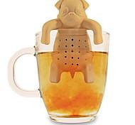 regalo del café del té de silicona perro pug infusor vaso de agua a base de hierbas especias filtro colador (color al azar)