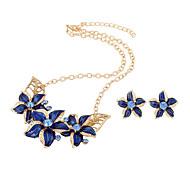 Набор украшений Pоскошные ювелирные изделия Имитация Алмазный Белый Черный Лиловый Синий 1 ожерелье 1 пара сережек ДляСвадьба Для