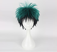 Cosplay Wigs My Hero Academy Battle For All/Boku no Hero Academia Midoriya Izuku Black / Green Short Anime Cosplay Wigs 35CM CMHeat