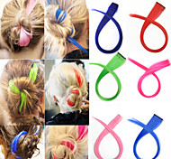 популярный смешанный цвет прямые волосы кусок высокой температуры волокна синтетические волосы продление
