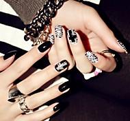 24pcs готовых ногтей патч ногтей таблетки панку ветер абзацы накладные ногти черный белый черный и белый