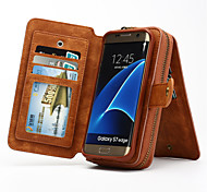 cheap -Case For Samsung Galaxy Samsung Galaxy S7 Edge Card Holder Wallet with Stand Flip Full Body Cases Solid Color Hard Genuine Leather for S7