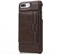 cheap -Case For Apple iPhone X iPhone 8 iPhone 6 iPhone 7 Plus iPhone 7 Card Holder with Stand Back Cover Solid Color Hard Genuine Leather for