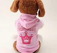 Cat Dog Hoodie Dog Clothes Breathable Fashion Tiaras & Crowns Pink Costume For Pets