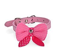 Dog Collar Adjustable / Retractable Strobe/Flashing Bowknot PU Leather Orange Purple Rose Red Pink