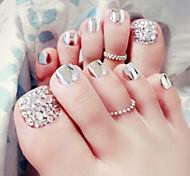 24pcs / комплект ногтей полоски металла серебряные ногти на ногах готового продукта ноги патч