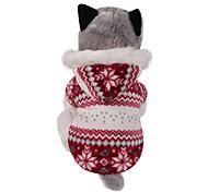 Perro Abrigos Saco y Capucha Ropa para Perro Mantiene abrigado Reversible Navidad Copo Marrón Rojo Disfraz Para mascotas
