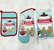 1pc Pocket Mitten 1pc Oven Glove 1pc Towel Cotton Bakeware SetsFor Cake / Chocolate / Bread / Cookie / Cupcake Xmas Kitchen Sets