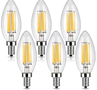 6W E12 Bombillas de Filamento LED C35 6 leds COB Regulable Blanco Cálido 560lm 2700K AC 110-130V