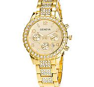 Xu™ Жен. Модные часы Наручные часы Кварцевый Календарь Нержавеющая сталь Группа Винтаж На каждый день Серебристый металл Золотистый