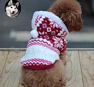 Cat Dog Coat Hoodie Dog Clothes Keep Warm Fashion Snowflake Brown Red Blue